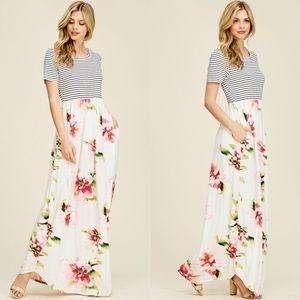 CHERYL Floral Print Maxi Dress -IVORY